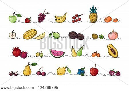 Continuous Line Fruits. Tropical Food. Monoline Sketch Border Of Exotic Natural Products Set. Pineap