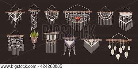 Macrame. Boho Handcrafted Wall Decorations Made Of Ropes And Knots. Braided Thread Ornament Hanging