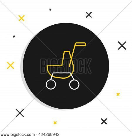 Line Baby Stroller Icon Isolated On White Background. Baby Carriage, Buggy, Pram, Stroller, Wheel. C