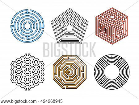 Maze Game. Way Out Puzzle. Mental Exercise. Polygonal And Round Labyrinths. Kids Graphic Logic Task