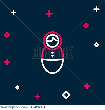 Line Tumbler Doll Toy Icon Isolated On Blue Background. Colorful Outline Concept. Vector
