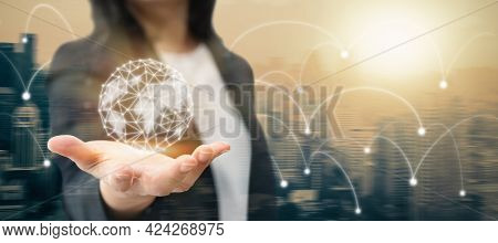 Global Tech Business And World Economy Investment Communication Concept By Information Network, Inte