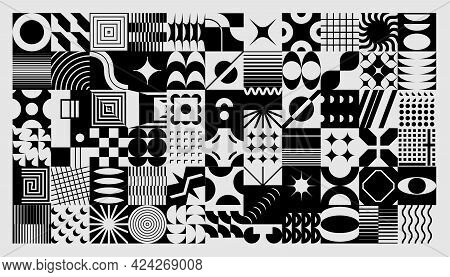Abstract Background. Geometric Collage With Minimalistic And Brutalist Shapes. Concentric Circles An