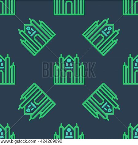 Line Milan Cathedral Or Duomo Di Milano Icon Isolated Seamless Pattern On Blue Background. Famous La