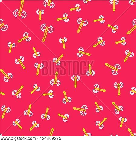Line Medieval Axe Icon Isolated Seamless Pattern On Red Background. Battle Axe, Executioner Axe. Med