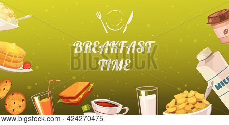 Set Of Snacks For Breakfast On Mustard Background With Drinks Toasts Flake Cakes Baked Goods Flat Ve