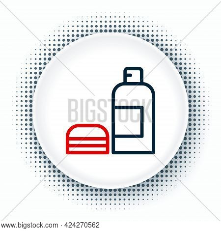 Line Bottle Of Shampoo Icon Isolated On White Background. Colorful Outline Concept. Vector