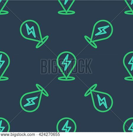 Line Lightning Bolt Icon Isolated Seamless Pattern On Blue Background. Flash Icon. Charge Flash Icon