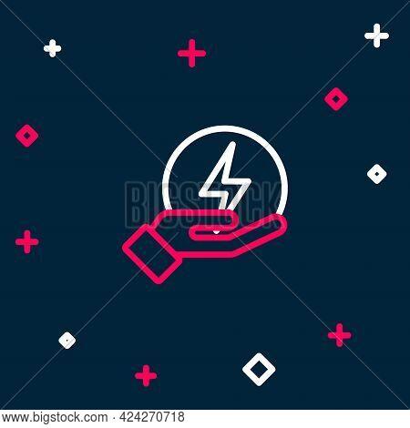 Line Lightning Bolt Icon Isolated On Blue Background. Flash Sign. Charge Flash Icon. Thunder Bolt. L