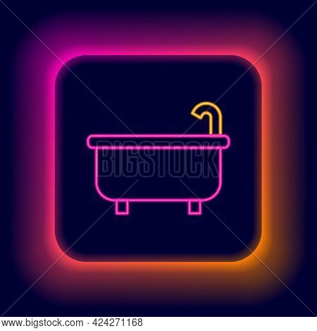 Glowing Neon Line Bathtub Icon Isolated On Black Background. Colorful Outline Concept. Vector