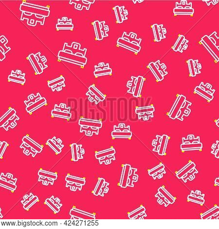 Line Bedroom Icon Isolated Seamless Pattern On Red Background. Wedding, Love, Marriage Symbol. Bedro