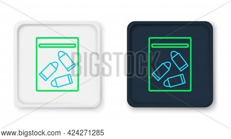 Line Evidence Bag And Bullet Icon Isolated On White Background. Colorful Outline Concept. Vector