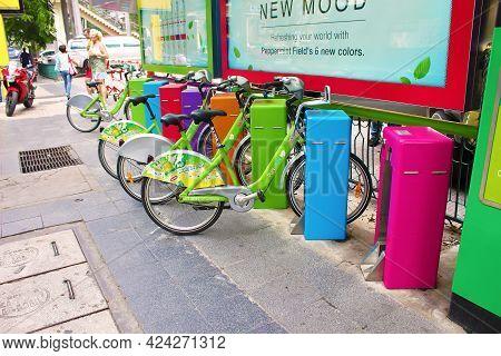 Bangkok, Thailand - June 20, 2014: Pun Pun Bike Share. Bangkok Metropolitan Authority Project Was Cr