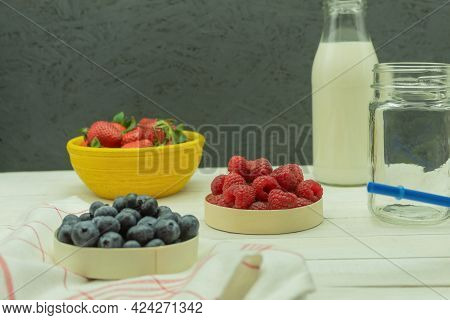 Berries And Fruits On The Table For Making A Cocktail. Healthy And Wholesome Fruits With Berries On