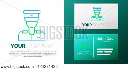 Line Train Conductor Icon Isolated On White Background. Colorful Outline Concept. Vector