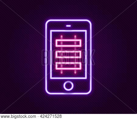 Glowing Neon Line Online Ticket Booking And Buying App Interface Icon Isolated On Black Background.