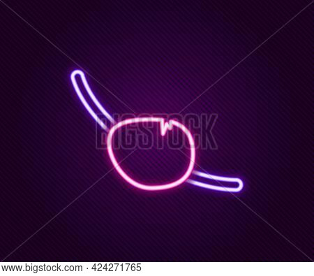 Glowing Neon Line Pirate Eye Patch Icon Isolated On Black Background. Pirate Accessory. Colorful Out