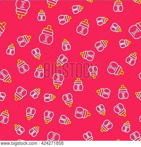 Line Baby Bottle Icon Isolated Seamless Pattern On Red Background. Feeding Bottle Icon. Milk Bottle
