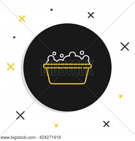 Line Baby Bathtub With Foam Bubbles Inside Icon Isolated On White Background. Colorful Outline Conce