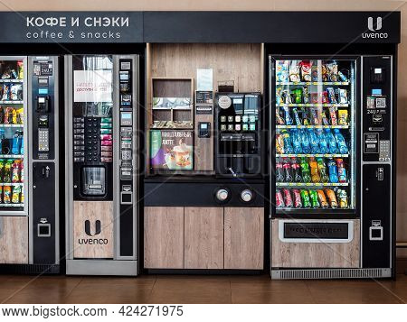 Rostov-on-don, Russia - May 23, 2021: Vending Machine For Drinks And Food At Platov International Ai