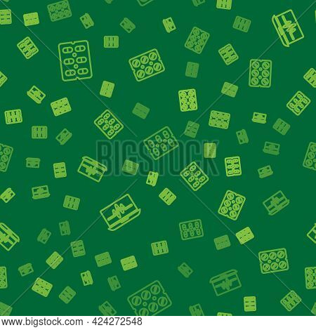 Set Line Pills In Blister Pack, Laptop With Cardiogram And On Seamless Pattern. Vector