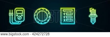 Set Line Multimeter, Car Tire Wheel, Inspection And Spark Plug. Glowing Neon Icon. Vector