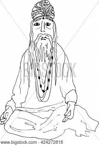 Sketch Of  Indian Spiritual Monk Meditating  . Engraved Hand Drawn Style.vector Illustration