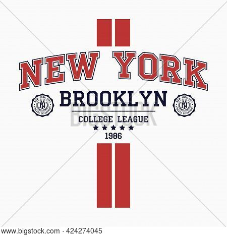 New York, Brooklyn College T-shirt Design With Vertical Stripes. Slogan Typography Graphics For T-sh
