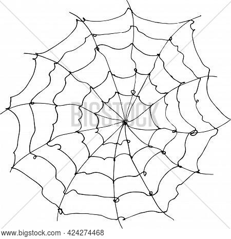 Sketch Of Cobweb. Vector Illustration In Doodle Style