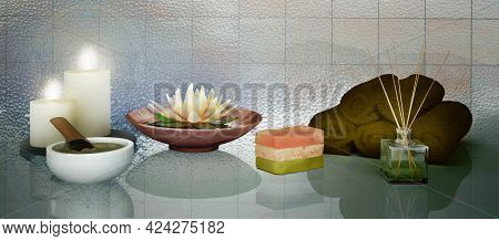 Composition Of Spa Treatment With Natural Aromatic Oil, Cosmetic Clay, Soap On Dark  Background. Day