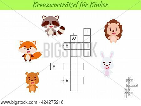 Crossword For Kids In German With Pictures Of Animals. Educational Game For Study German Language An