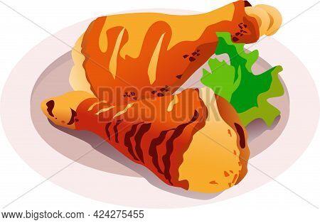 Tradition Bavarian Food. Vector Illustration Of Chicken Legs For Oktoberfest.