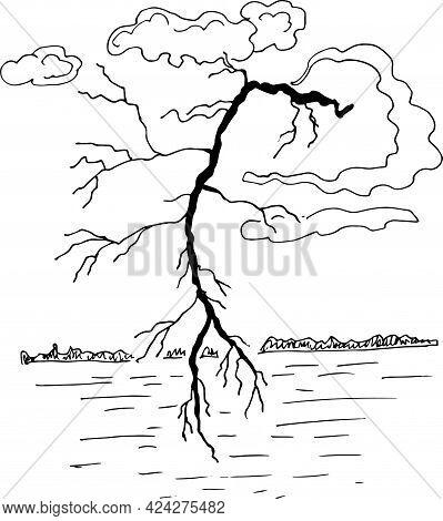 Thunderstorm And Lightning  Graphic Black Sketch Illustration Vector. Natural Phenomenon