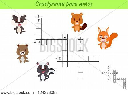 Crossword For Kids In Spanish With Pictures Of Animals. Educational Game For Study Spanish Language