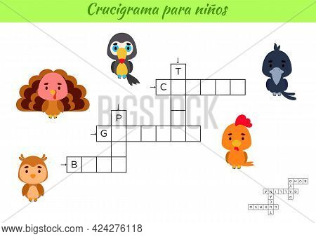 Crossword For Kids In Spanish With Pictures Of Birds. Educational Game For Study Spanish Language An