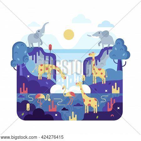 Vector Flat Cartoon Illustration - Giraffe, Elephant And Pink Flamingos Near Waterfall