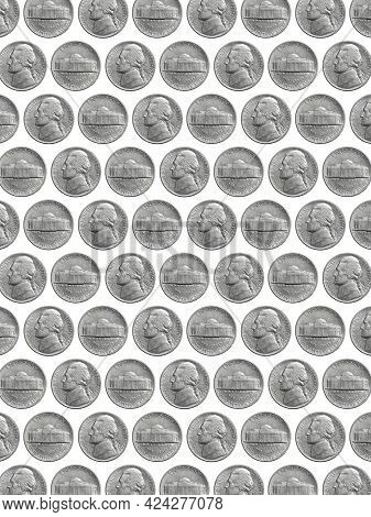American Five Cents Coin  Isolated On White Background