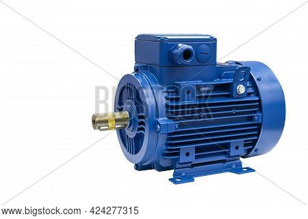 Close Up New Electric 3 Phase Induction Motor For Industrial On Table Isolated With Clipping Path
