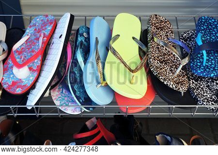 Colorful Flip Flops Beach Slippers. Comfortable Footwearfor Summer Holidays.
