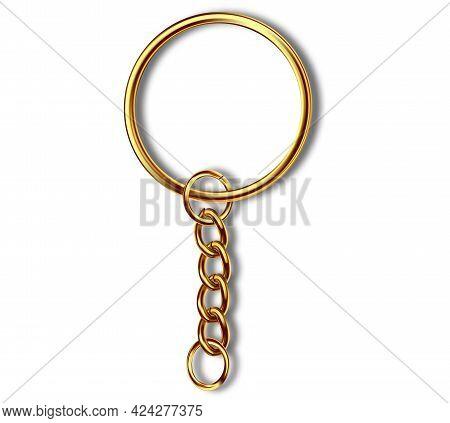 Leather Keychain, Trinket Keyring Mockup. Keyholder And Breloque Illustration. Keyring Holders Isola