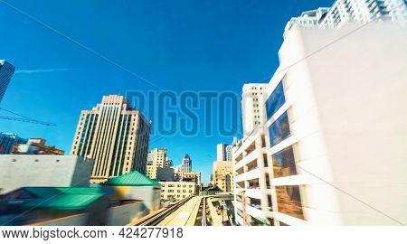 Miami Metro Mover Automated Train Pov Through The Windshield