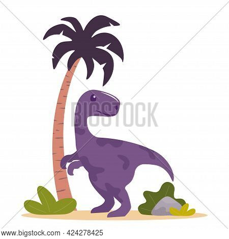Cute Dinosaur, Palm And Plants. Prehistoric Jurrasic Period Wild Fauna. Vector Illustration In Flat