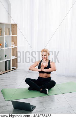 Meditating Woman. Home Yoga. Online Practice. Harmony Balance. Healthy Body. Happy Lady Black Sports
