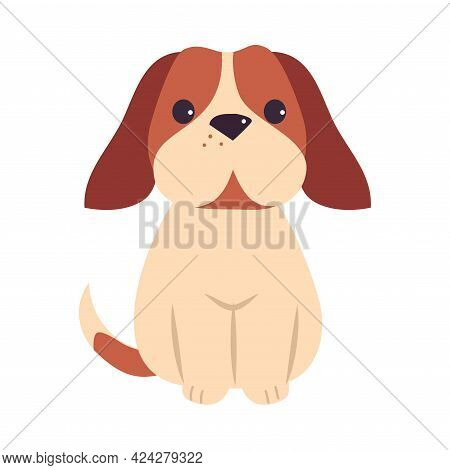 Cute Puppy Dog, Adorable Pet Animal With White And Brown Coat Cartoon Vector Illustration