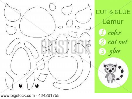 Color, Cut And Glue Paper Little Lemur. Cut And Paste Crafts Activity Page. Educational Game For Pre
