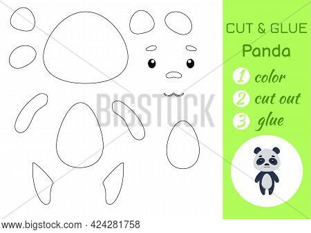 Color, Cut And Glue Paper Little Panda. Cut And Paste Crafts Activity Page. Educational Game For Pre