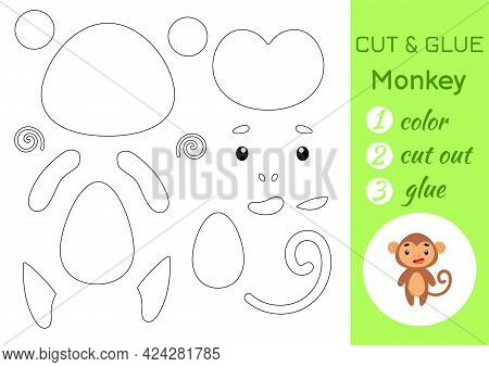 Color, Cut And Glue Paper Little Monkey. Cut And Paste Crafts Activity Page. Educational Game For Pr