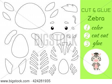 Color, Cut And Glue Paper Little Zebra. Cut And Paste Crafts Activity Page. Educational Game For Pre