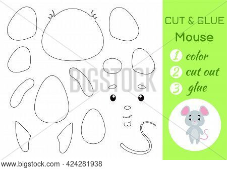 Color, Cut And Glue Paper Little Mouse. Cut And Paste Crafts Activity Page. Educational Game For Pre