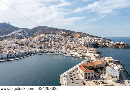 Syros Island, Hermoupolis Cityscape And Port Aerial Drone View. Greece, Cyclades.